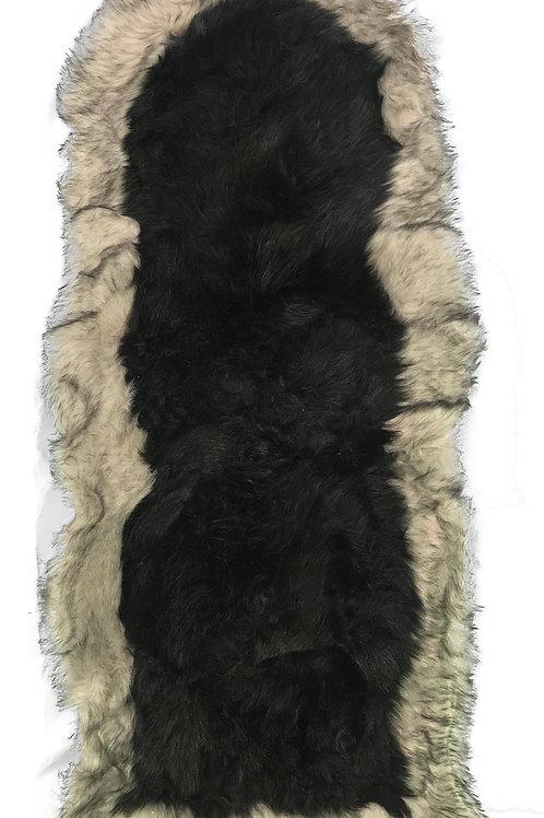 Soft Fluffy PLAIN Faux Fur 2 tone Rugs 60cm X 130cm Black_Beige