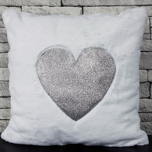 "Super Soft Cuddly faux fur Silver Glitter Heart 17x17"" cushions WHITE"