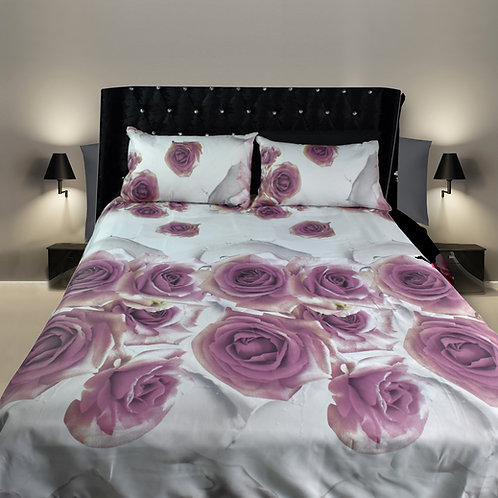 roses purple white 3D Duvet Cover Set Double ,Kingsize