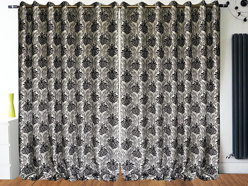 "Full Flock DAMASK Fully Lined Eyelet Curtains WHITE BLACK 90"" Wide X 90""Drop"
