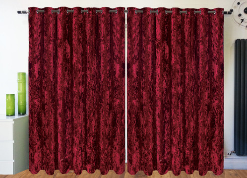Crushed Velvet Ring Top Eyelet Lined Curtains Wine Red