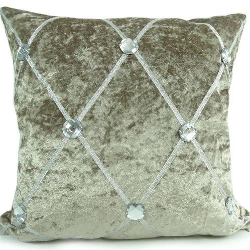 Crush velvet Chesterfield Diamante cushions-Beige