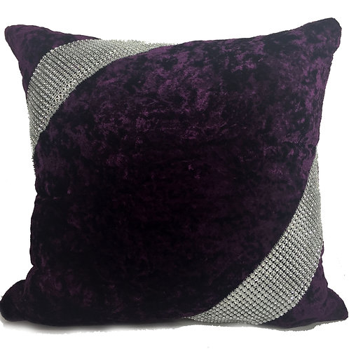 Crush velvet Cross Lace Diamante cushions-Purple