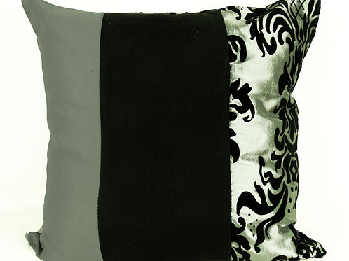 Three Tone Damask Cushions- Silver Reversible