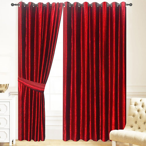 NEW Velvet Ring Top Eyelet Curtains Lined Wine Red