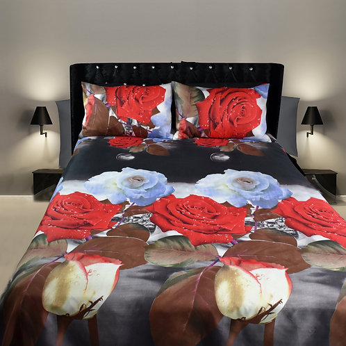 3D Duvet set,80 GSM ,Roses Red Brown Double King size