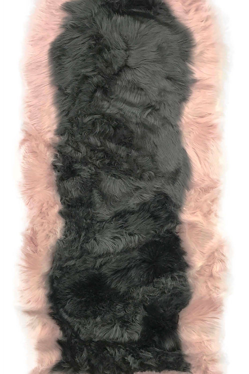 Soft Fluffy PLAIN Faux Fur 2 tone Rugs 60cm X 130cm Grey_Pink
