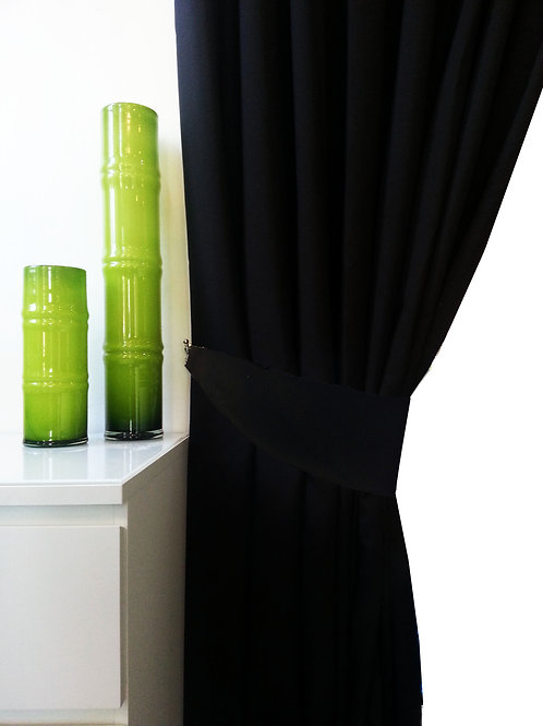 plain matching tie backs for 3 tone curtains Black