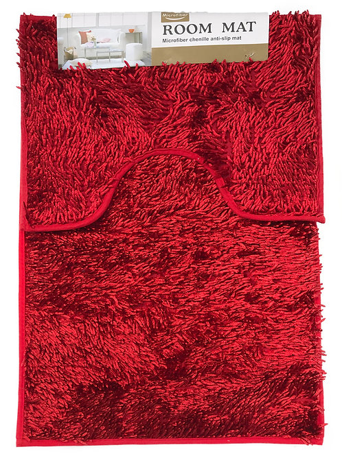 Sparkle chenille Bath and Pedestal Mat Sets Anti Slip RED