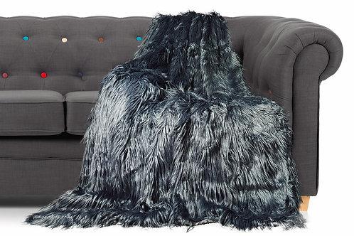 Shaggy Long Faux Fur Throw over Sofa Bedspread Fluffy 150x200cm GREY