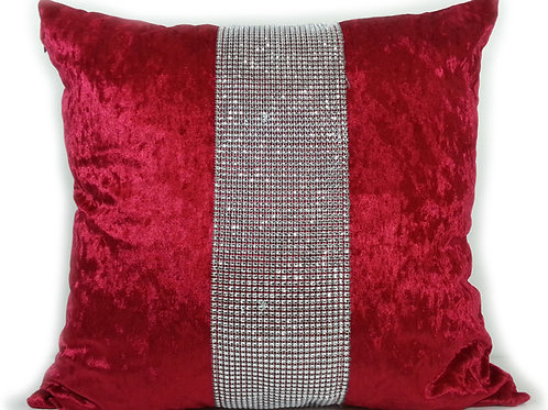 Large Cushions diamante Lace crush velvet Red