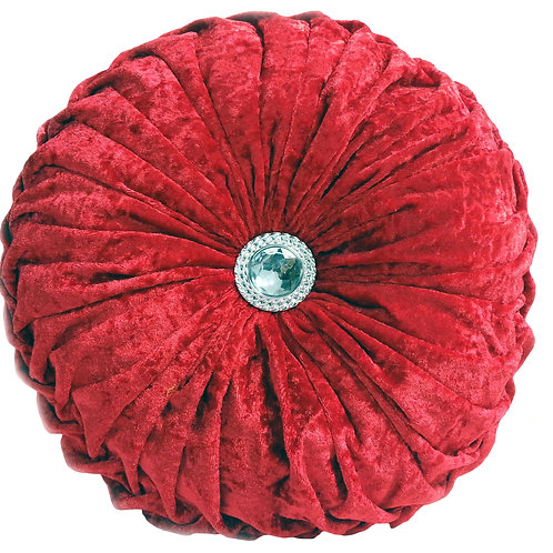 Crush velvet Round Diamante filled cushions-RED