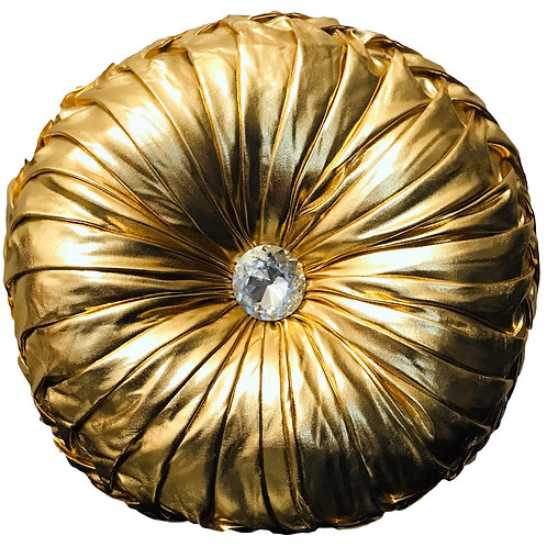 Round Cushion Luxury Diamante Chic Filled SHINY GOLD