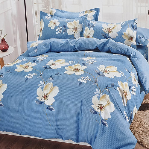 Duvet Cover set 90 GSM quality Double King size Daisy Trails Blue