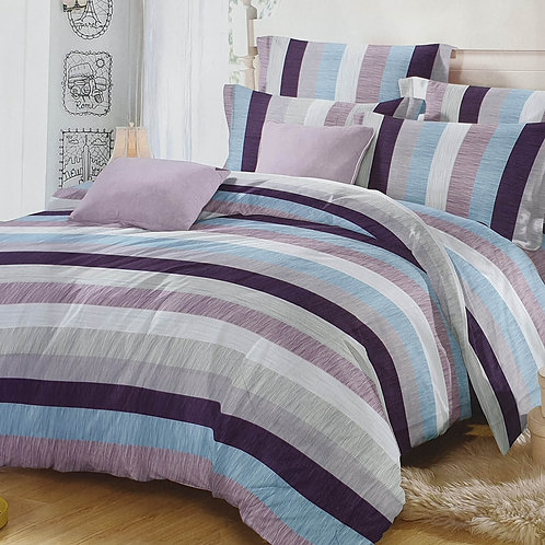 Duvet Cover set 90 GSM quality Double King size Stripe Purple Blue