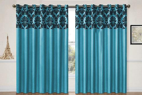 "Flock damask Teal eyelet curtains 90"" X 90"""