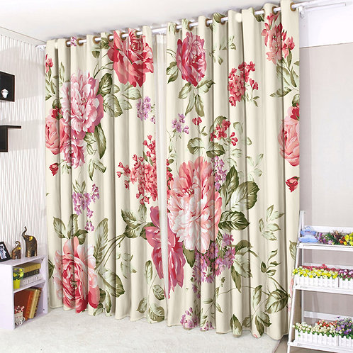 Pair of Eyelet Ring Top Curtains 3D Vintage Floral
