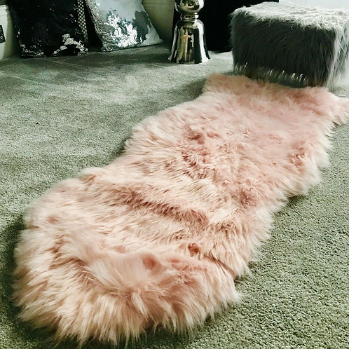 Soft Fluffy Sheepskin PLAIN Faux Fur Rugs Carpet Mat 60X130 SOFT PINK