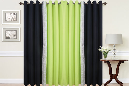 2 Tone Diamante Eyelet Curtains Black Green