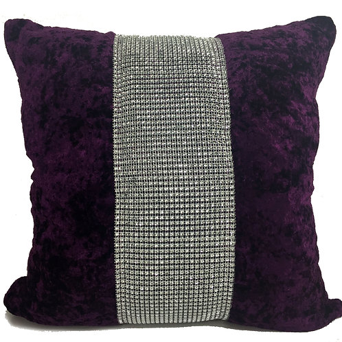 Large Cushions diamante Lace crush velvet -Purple