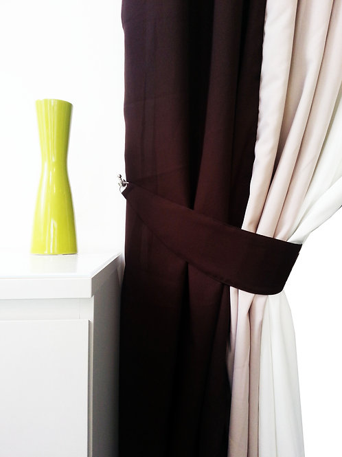 Plain Tie Backs for 3 tone curtains Brown