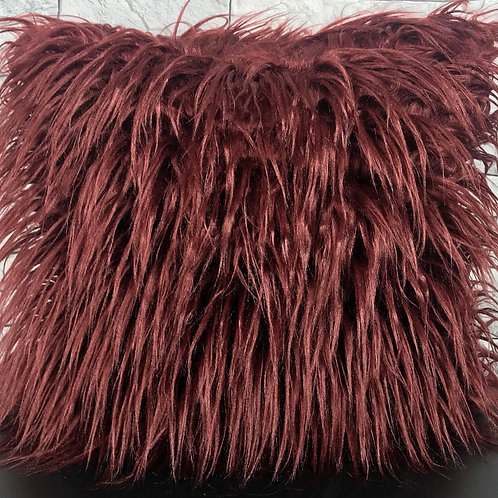 long Shaggy faux fur cushions or covers WINE RED