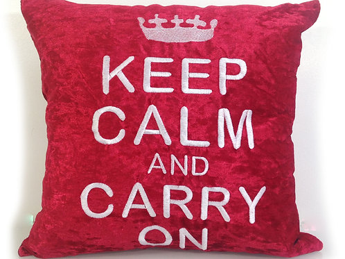 Keep calm and carry on Embroidered cushions-Red