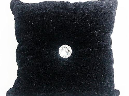 Crush velvet square Diamante chic filled cushions-Black