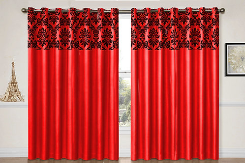 "Flock damask Red eyelet curtains 90""X 90"""