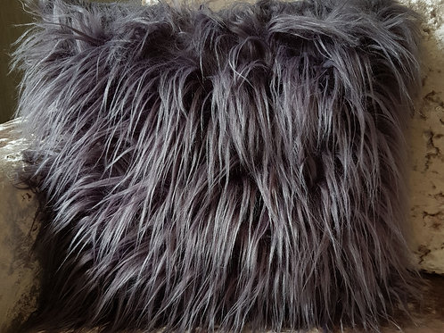 long Shaggy faux fur cushions or covers SILVER grey