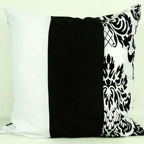 Three Tone Damask Cushions- Black and White Reversible