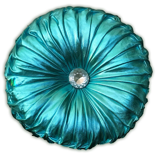Round Cushion Luxury Diamante Chic Filled SHINY Blue