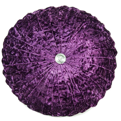 Crush velvet Round Diamante filled cushions-purple