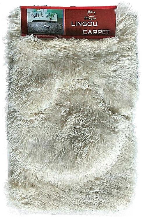 3 piece Bath Pedestal Mat set shaggy fur Soft Anti Slip cream