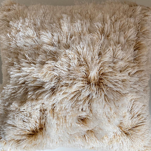 Super Soft Cuddly 2 TONE Faux Fur Fluffy Cushions or Covers Champagne Gold