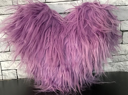 Love HEART SHAPED long Shaggy faux fur Filled cushions PURPLE