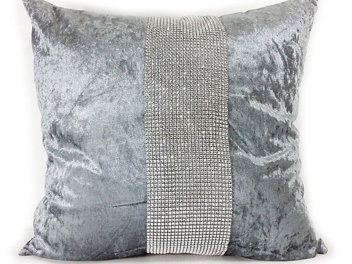 Large Cushions diamante Lace crush velvet -Silver