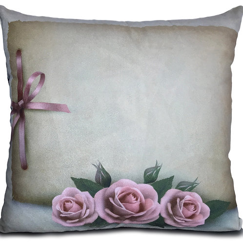 "Soft Velvet Effect Cushions or Covers FLORAL 17""X17"" Triple Roses Pink"