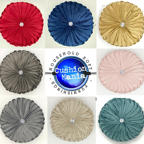 Cushion Soft PLUSH Velvet Cushions Luxury Chic Filled Scatter Cushion Round