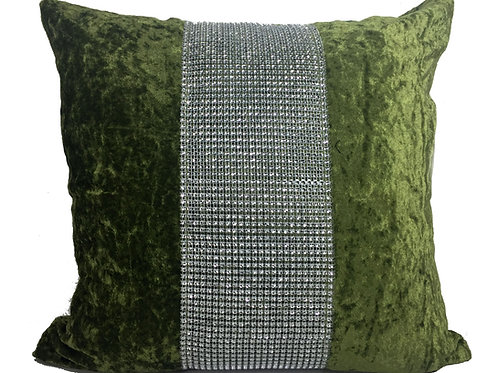 Large Cushions diamante Lace crush velvet -Green