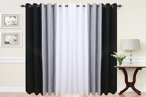 Three Tone Eyelet Curtains Black Grey White