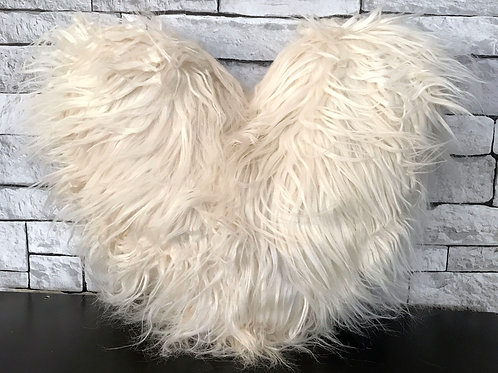Love HEART SHAPED long Shaggy faux fur Filled cushions CREAM