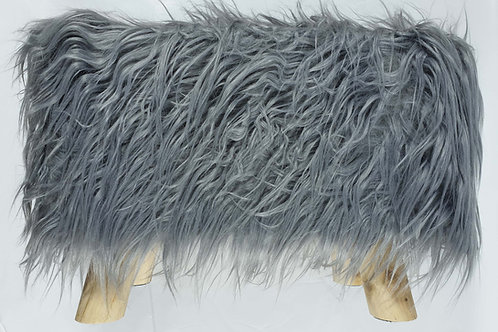 Shaggy Faux Fur Foot stool Ottoman Padded Wooden stool Rectangle Grey