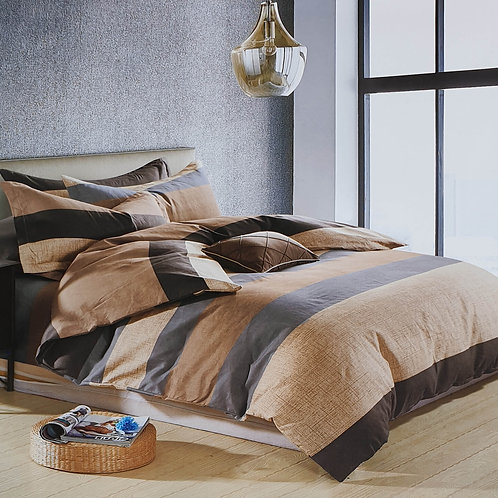 Duvet Cover set 90 GSM quality Double King size Stripe Beige brown