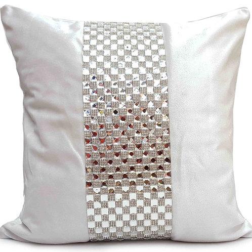 Designer cushions velvet Square diamante Cream