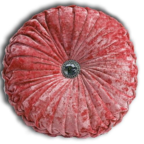 Crush velvet Round Diamante Chic filled cushions-Pink