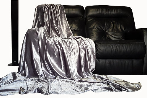 Crush Velvet Throw over Bedspread For Sofa Bed Silver