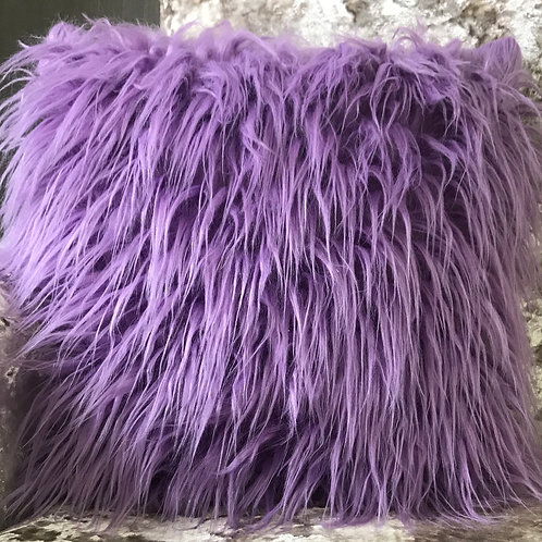 long Shaggy faux fur cushions or covers PURPLE