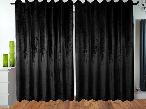 Crush Velvet ring top eyelet lined curtains Black