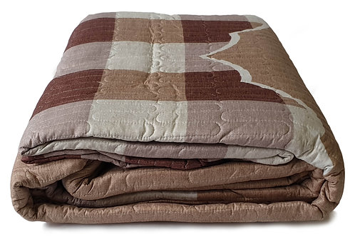 copy of 3 Piece Quilted Bedspread Throw Comforter Set Checks Double King BEIGE